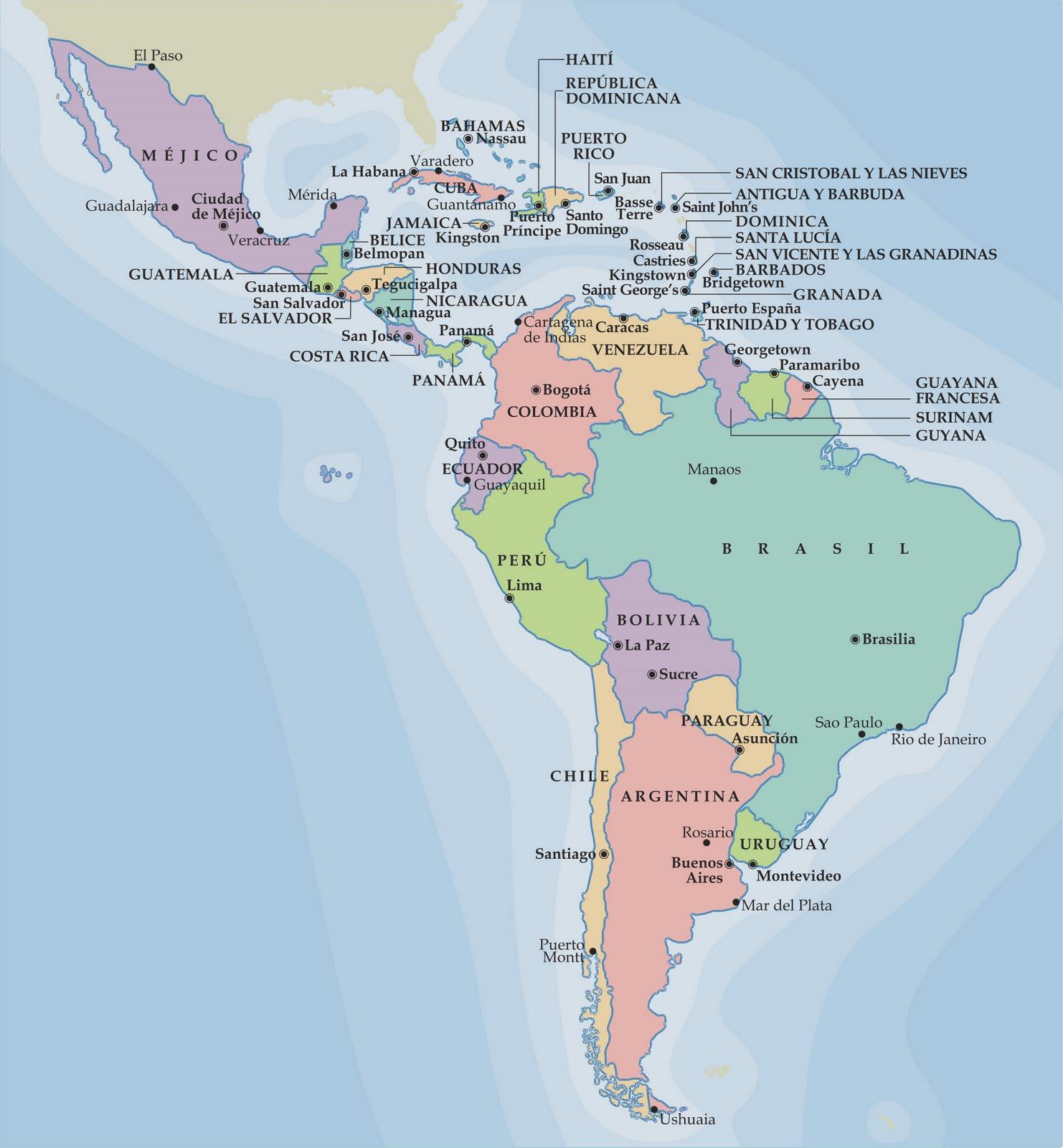 Mapa Politico De America Del Sur